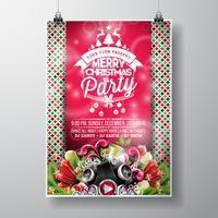 Vector Merry Christmas Party design con elementi di tipografia vacanza e altoparlanti su fondo lucido.