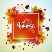Autumn Illustration with Colorful Falling Leaves, Chestnut and Lettering on White Background. Autumnal Vector Design for Greeting Card, Banner, Flyer, Invitation, Brochure or Promotional Poster.