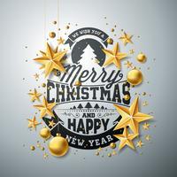 Vektor jul och nyår illustration med typografi och cutout papper stjärnor på ren bakgrund. Semesterdesign för gratulationskort, affisch, banner.
