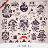 Vector Merry Christmas Holidays and Happy New Year illustration with typographic design set on winter landscape background.