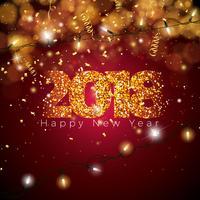 Ilustração do ano novo feliz 2018 do vetor no fundo colorido brilhante com projeto da tipografia. EPS 10