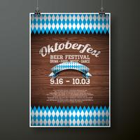 Oktoberfest poster vector illustration with flag on wood texture background.