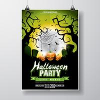 Vector Halloween Party Flyer Design con elementos tipográficos y calabaza