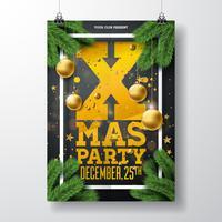 Diseño del aviador de la fiesta de Navidad del vector con los elementos de la tipografía del día de fiesta y la bola ornamental, rama del pino en fondo negro. Ilustración de cartel de celebración premium.