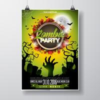Vector Halloween Zombie Party Flyer Design com elementos tipográficos sobre fundo verde.