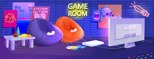 Sala de videojuegos con sillas cómodas.