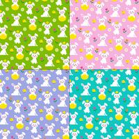 Easter bunny and chicks patterns vector