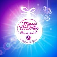 Vector el ejemplo de los días de fiesta de la Feliz Navidad y de la Feliz Año Nuevo con diseño tipográfico y la bola de cristal brillante en fondo azul.