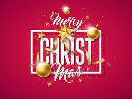 Illustrazione vettoriale di buon Natale con la palla di vetro oro, stella di carta del ritaglio
