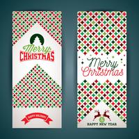 Vector Merry Christmas greeting card illustration with typographic design and abstract color texture pattern on clean background.
