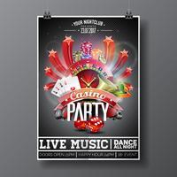 Vector Party Flyer design su un tema di Casino con la ruota della roulette e carte da gioco