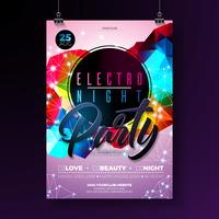 Night dance party poster design with abstract modern geometric shapes on shiny background. Electro style disco club template for abstract music event flyer invitation or promotional banner. vector