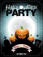 Vector Illustration auf einem Halloween-Partythema mit Kürbisen.