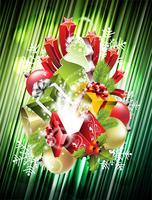Vector Weihnachtsillustration mit magischen Geschenkboxen und glänzenden Feiertagselementen