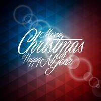 Vector Christmas illustration with typographic design on abstract geometric background