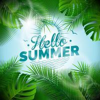 Vektor Hello Summer typografisk illustration med tropiska växter på ljusblå bakgrund.