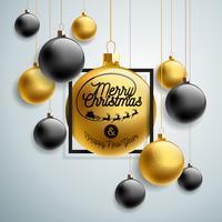 Illustrazione vettoriale di buon Natale con elementi di palla e tipografia vetro oro su sfondo chiaro. Holiday Design per Premium Greeting Card, Party Invitation o Promo Banner.