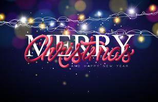 Merry Christmas Illustration with Intertwined Tube Typography Design and Lighting Garland on Shiny Blue Background. Vector Holiday EPS 10 design.