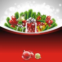 Ilustración de Navidad con cajas de regalo sobre fondo rojo