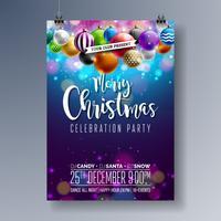 Diseño feliz de la fiesta de Navidad del vector con los elementos de la tipografía del día de fiesta y las bolas ornamentales multicoloras en fondo brillante. Celebración Fliyer ilustración. EPS 10.