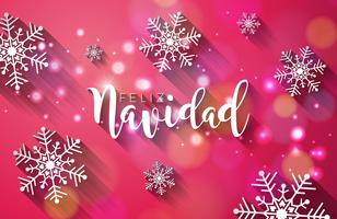 Illustrazione di Natale con spagnolo Feliz Navidad tipografia e stella di carta del ritaglio dell'oro su priorità bassa blu brillante. Vector Holiday Design per Premium Greeting Card, Party Invitation o Promo Banner.