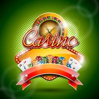 Vector illustration on a casino theme with color playing chips and roulette wheel on green background.