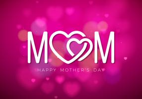 Happy Mothers Day Greeting card illustration with Mom typographic design and hearth symbol on pink background. Vector Celebration Illustration