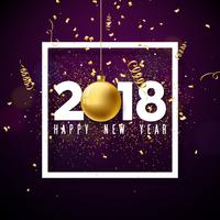 Vector Happy New Year 2018 Illustration with White Number and Ornamental Ball on Shiny Confetti Background. Holiday Design for Premium Greeting Card, Party Invitation or Promo Banner.