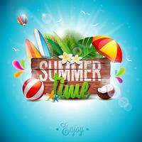 Vector Summer Time Holiday typographic illustration on vintage wood background.