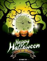 Vector illustration on a Happy Halloween theme on moon background.