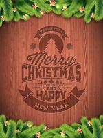 Vector el ejemplo del día de fiesta de la Feliz Navidad y de la Feliz Año Nuevo con diseño tipográfico y los copos de nieve en fondo de madera del wintage.