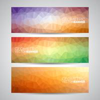 Vector geometric triangles banner background set. Abstract polygonal design.