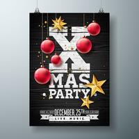Diseño del aviador de la fiesta de Navidad del vector con los elementos de la tipografía del día de fiesta y la bola ornamental, estrella de papel del recorte en fondo de madera del vintage. Ilustración de cartel de celebración premium.