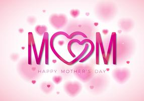 Happy Mothers Day Greeting card illustration with Mom typographic design and hearth symbol on white background. Vector Celebration Illustration