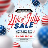Fourth of July. Independence Day Sale Banner Design with Balloon on Confetti Background. USA National Holiday Vector Illustration with Special Offer Typography Elements for Coupon