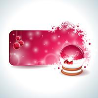 Vector Christmas design with magic snow globe and red glass ball on snowflakes background.