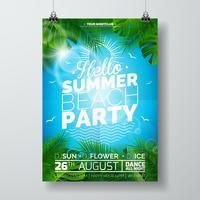 Vector Summer Beach Party Flyer Design con diseño tipográfico