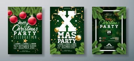 Diseño del aviador de la fiesta de Navidad del vector con los elementos de la tipografía del día de fiesta y la bola ornamental, rama del pino en fondo verde oscuro.