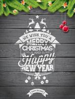 Vector Merry Christmas Holiday and Happy New Year illustration with typographic design and snowflakes on wintage wood background.