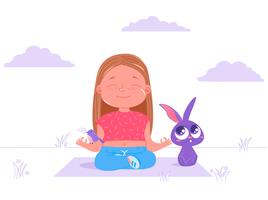 Cute girl doing yoga outside with rabbit & bird
