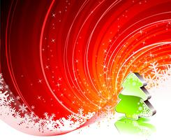 Holiday illustration with shiny christmas tree on red background.