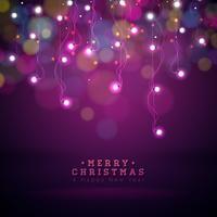 Ilustração brilhante das luzes de Natal em um fundo transparente escuro. EPS 10 Design De Vetor.