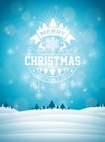 Merry Christmas illustration with typography and ornament decoration on winter landscape background. Vector Christmas holidays flyer or poster design.