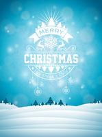 God julillustration med typografi och prydnadsdekoration på vinterlandskapsbakgrund. Vektor jul helgdag reklamblad eller affisch design.