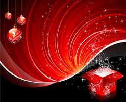 Christmas illustration with gift box and glossy ball on red background.