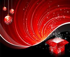 Illustrazione di Natale con scatola regalo e palla lucida su sfondo rosso.