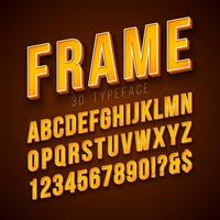 Vector 3d Alphabet Font with Frame and Shadow on Red Background. Modern Typeface Design Collection with ABC, Number and Special Characters for Banner