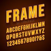 Fonte di alfabeto di vettore 3d con telaio e ombra su sfondo rosso. Moderna collezione di disegni di carattere con ABC, numero e caratteri speciali per banner
