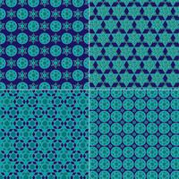 ornate blue and gold jewish star patterns