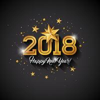 Illustrazione del buon anno con la lettera di tipografia e palla ornamentale su fondo nero. Vector Holiday Design per Premium Greeting Card, Party Invitation o Promo Banner.